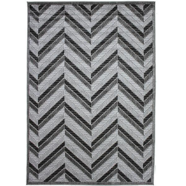 Cairo Indoor / Outdoor Chevron Dark Grey & Light Grey G088A Modern Rug