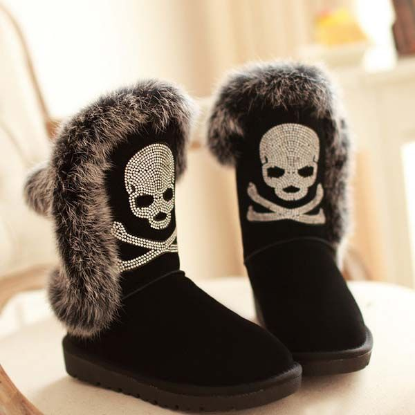 black boots,Rhinestone skull boots,winter boots for women,pirate boots