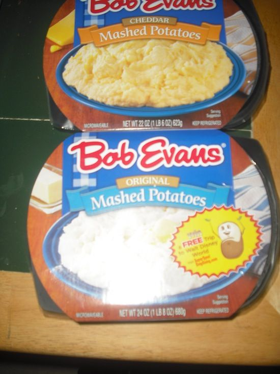 Bob Evans Mashed Potatoes. Oh yes I did! I put two of the original in a crock pot after heating them and put a pat of butter on top. Rave reviews. ;-)