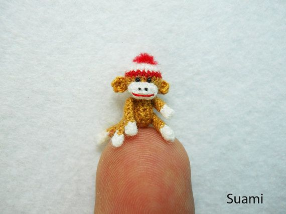 Mini Amigurumi Sock Monkey - Micro Crocheted Brown Sock Monkeys With Hat - Made to Order