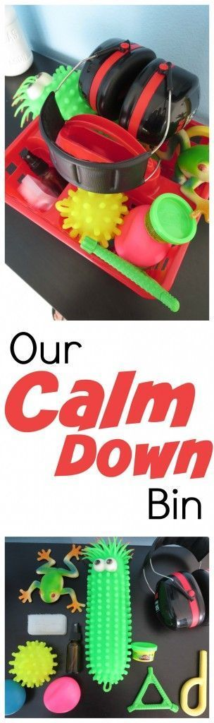 Calm Down Bin for sensory meltdowns and tantrums. Great list of tools for kids with sensory processing disorder to help them regain control and get the input they need.