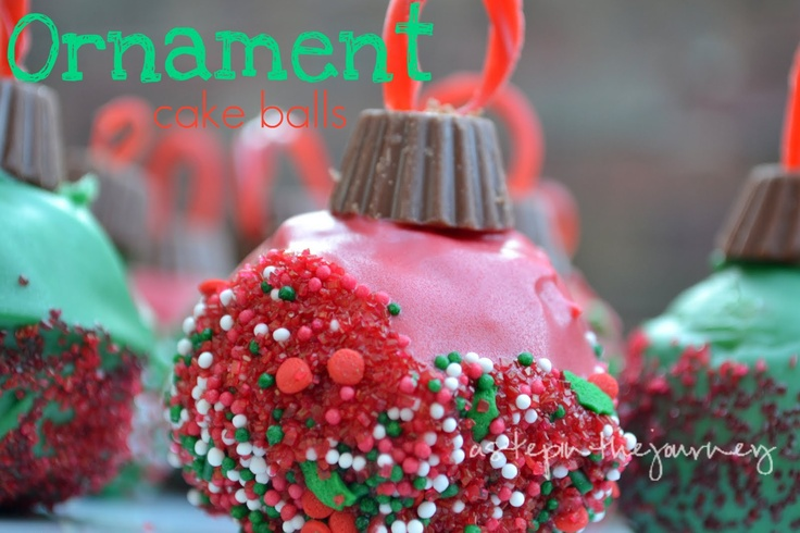 A Step in the Journey: Ornament Cake Balls: The Journey, Christmas Parties, Cakes Pop, Cake Ball, Ball Ornaments, Cute Ideas, Ornaments Cakes, Christmas Ornaments, Cakes Ball
