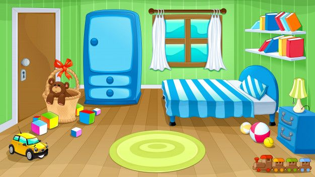 Funny Bedroom With Toys Premium Vector Funny Bedroom Kid Toy