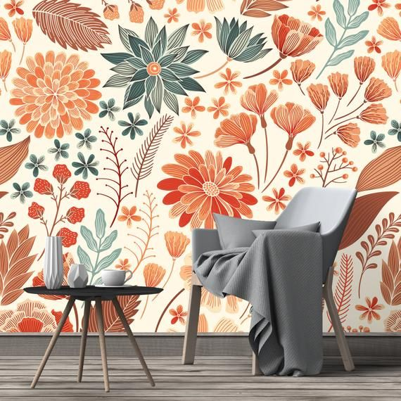 Removable Wallpaper Orange Fall Mythic Flowers Peel And Etsy Removable Wallpaper Peel And Stick Wallpaper Nursery Wallpaper
