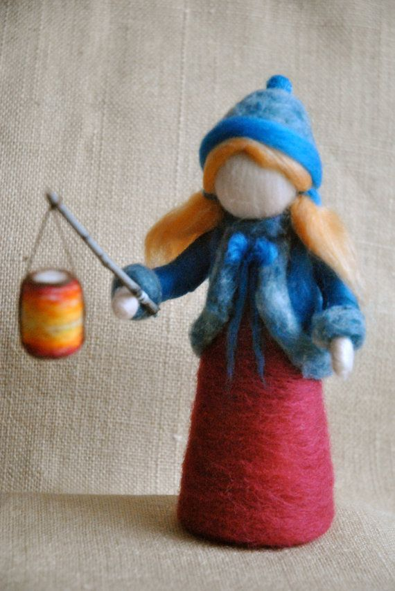 Waldorf inspired needle felted girl : The Lantern door MagicWool