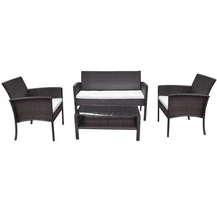 Vito 4pieces garden seating group steel wicker rocky brown