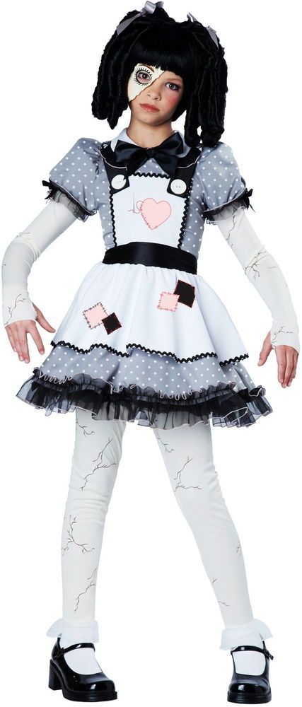 Creepy Haunted House Gothic Retro Broken Mask Rag Doll Costume Child Girls #CaliforniaCostumeCollection