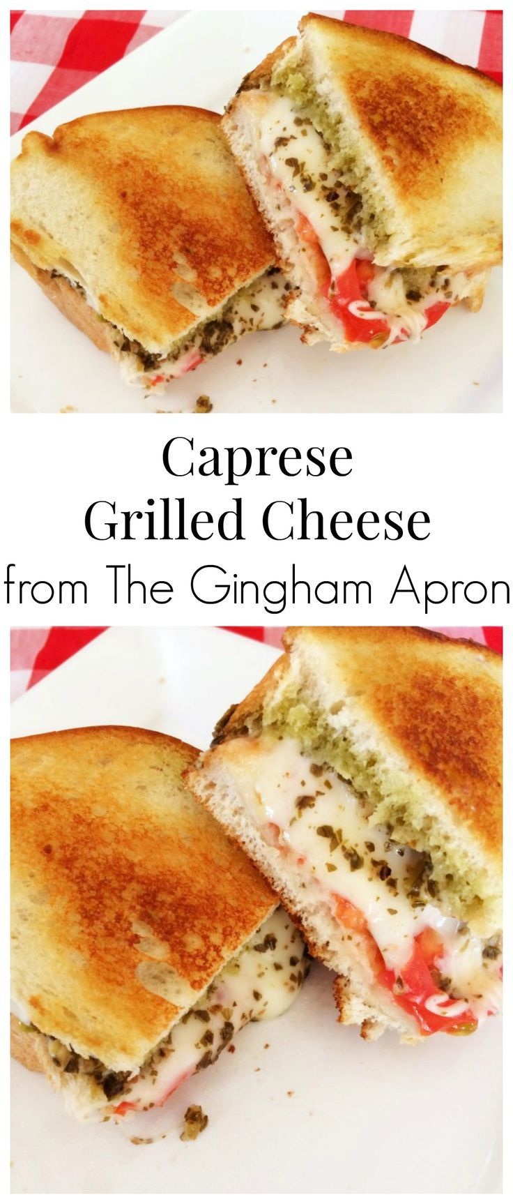 Caprese Grilled Cheese- melty mozzerella, pesto, and tomato sandwich...YUMMMM