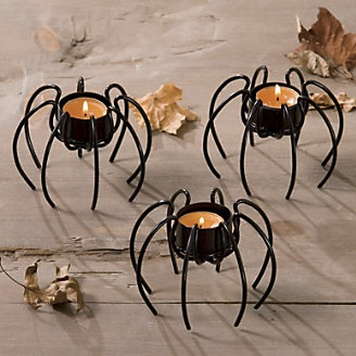 Spider Tealight Holders, Set of 3 from Through the Country Door® makes me think of a tim burton movie: Holiday Ideas, Craft, Spiders, Candles, Tealight Holders, By, Spider Tealight, Halloween
