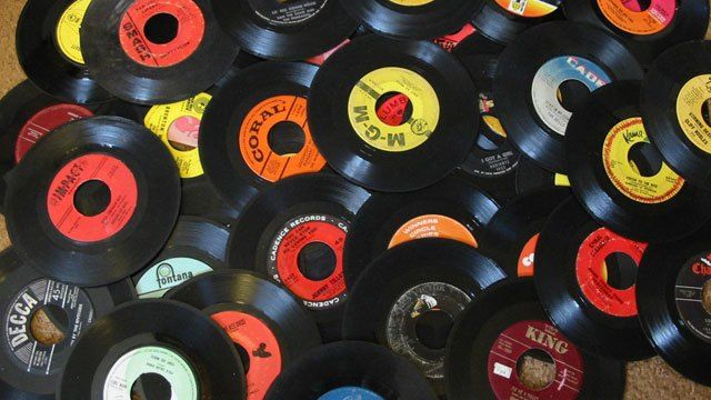 45 speed single records...we played ours to death!!! My first ones were Kicks by Paul Revere and the Raiders, Dizzy by Tommy Roe, Crimson and Clover by Tommy James and the Shondells...they cost 78 cents I think and I could get 3 with my allowance each week.