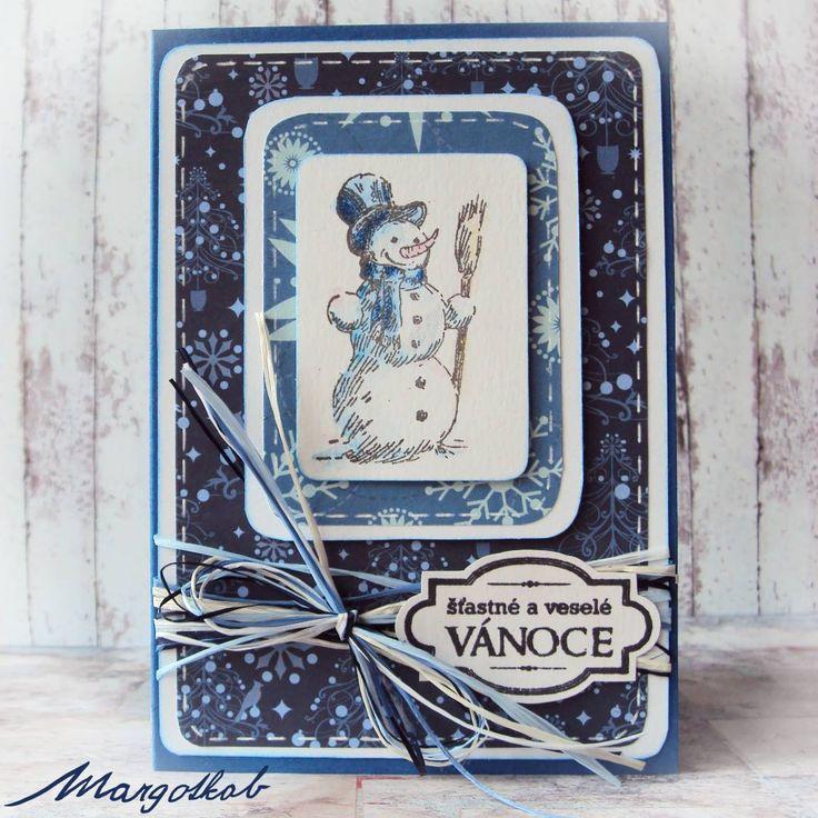 Vánoční přání modré, sněhulák. margotkab