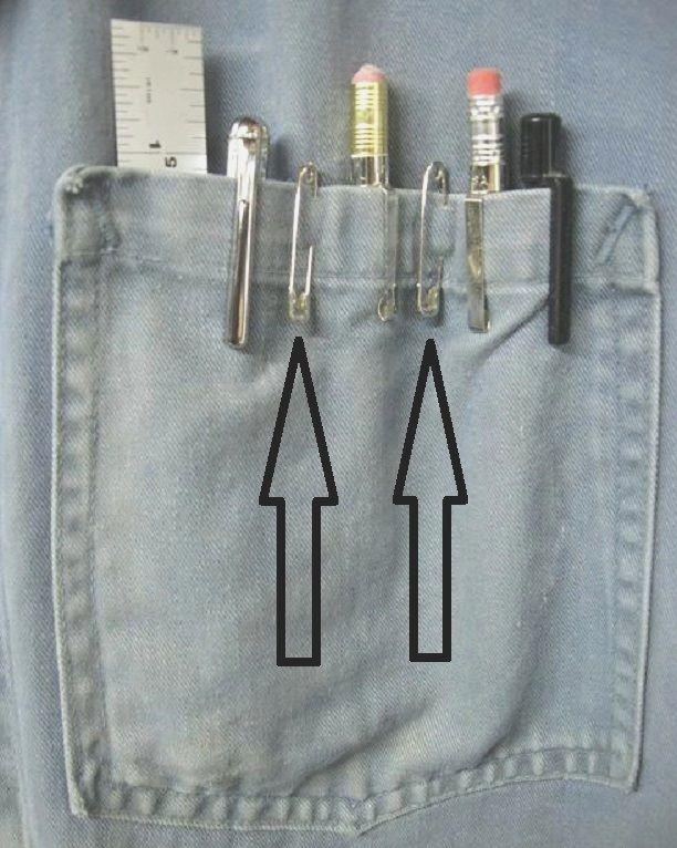 Je porte toujours un sarreau lorsque je travaille dans mon atelier. Utiliser des épingles de sureté (aussi nommées épingles à couches) est une façon idéale pour organiser la poche de poitrine de mo…