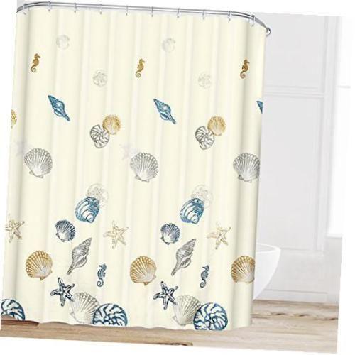Ocean Pattern Bathroom Shower Curtain Fabric With Hooks Starfish