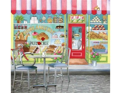 """Why not a Bakery, a Fire Station, a Hair-Salon, a Gas Station, a Veterinarian or a Florist? Here is our mural """"Bakery"""". A Wallpaper Mural by Muralunique.com. An original painting from Johanne Pépin."""