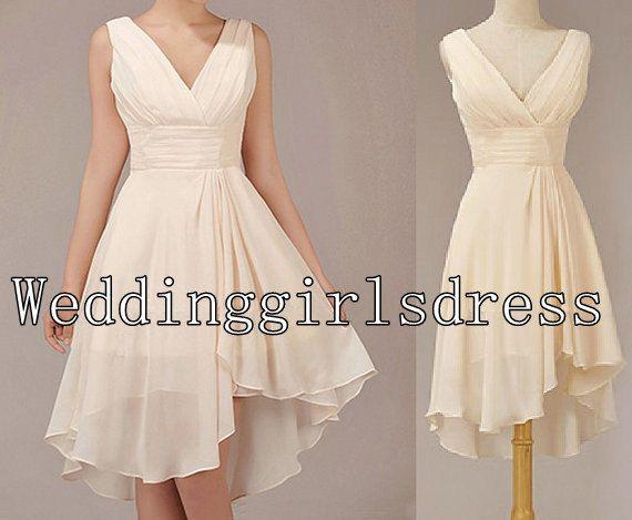 Ivory A Line Strap Empire V Neck Short Chiffon Dress Prom Evening Wedding Bridesmaid Dresses