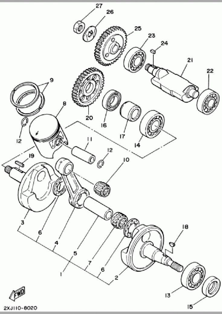 Yamaha Blaster Engine Parts Diagram Di 2020  Dengan Gambar