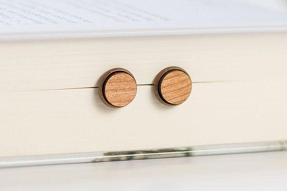 Wooden Earrings Stud  Laser cut earrings  Brass  Eco by Strickzeit