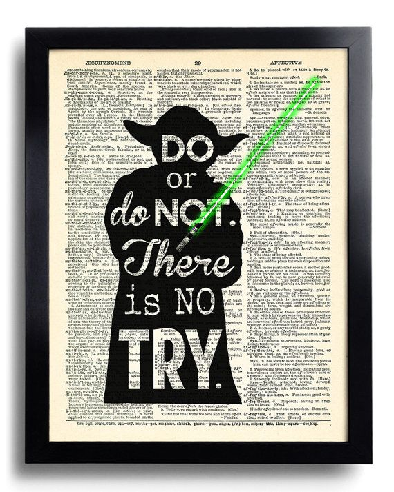 Star Wars Yoda Quote Do or do not There is no try, Star Wars art print Dictionary book page print, Yoda Poster Star Wars print  Wall Art 409