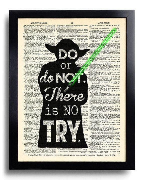 Star Wars Yoda cite faire ou ne pas il n'est aucun essayer, Star Wars art dictionnaire livre page impression, Star Wars de Yoda affiche imprimer Wall Art 409