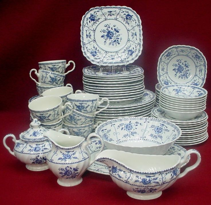 JOHNSON BROTHERS china INDIES BLUE made in England 84-pc SET SERVICE for 12 (-) #JohnsonBrothers