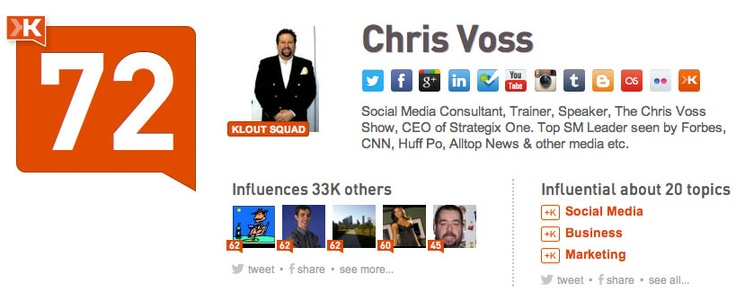 @Chris Cote Voss: Social Media Consultant, Trainer, Speaker, The Chris Voss Show, CEO of Strategix One. Top SM Leader seen by Forbes, CNN, Huff Po, Alltop News & other media etc.