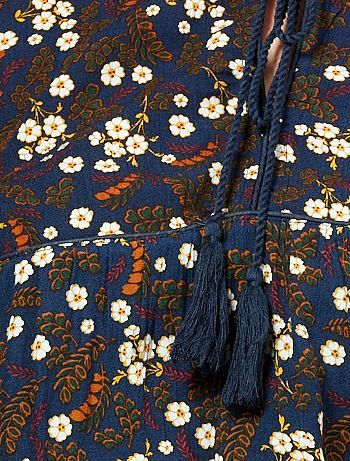 Blusa folk stampata con pompon                                                     à pois Donna   - Kiabi