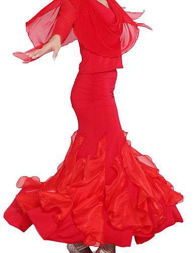 ruhák viszkóz / tüll teljesítmény latin tánc szoknya női - USD $ 49.67