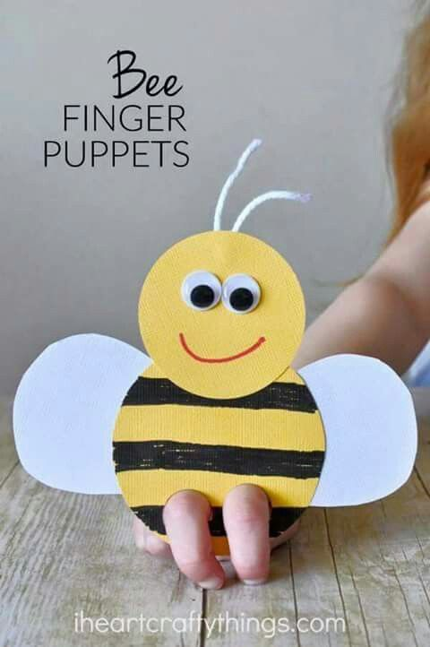 Easy and cute craft for kids! Bee finger puppet