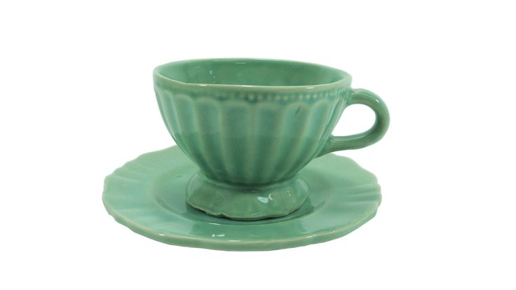Tazon de ceramica shabby chic color verde vajilla - Vajilla shabby chic ...