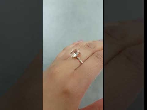 (1) Oval Peach Morganite Engagement Ring with Half Eternity Diamond Band - YouTube