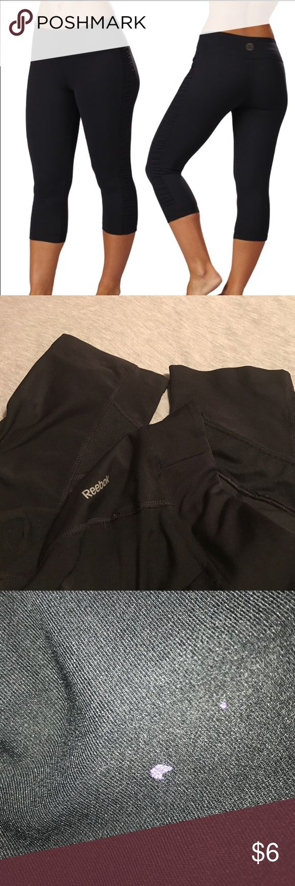 YOGA CAPRI PANTS Black stretchy, yoga capris. Small stain on butt from paint. Reebok Pants Capris