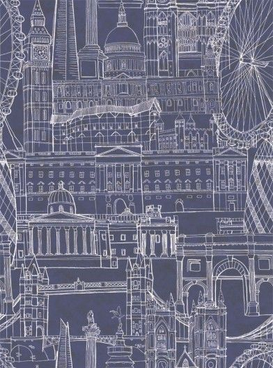 London Skyline Night (38836) - Graduate Collection Wallpapers - A stunning architect drawing style design - featuring iconic London buildings: St Paul's, Big Ben, Tower Bridge and Gherkin. A large pattern repeat creates a truly dynamic effect. Shown in night blue colourway - drawn in white on deep blue.  Paste the wall product. Please request a sample for true colour match.