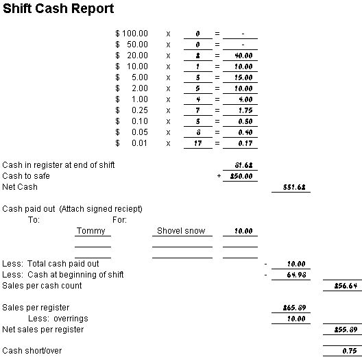 cash register till balance shift sheet in out template google