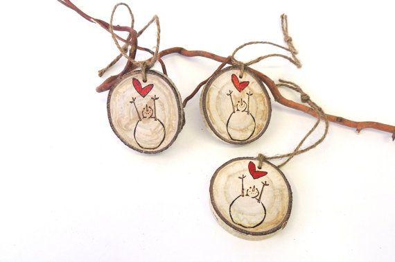 Snowman Ornaments, 3 Tree Slice Ornaments, Primitive Snowmen with Red Hearts, Rustic Snowman, Tree Slice, Rustic Wedding Charms      Aspen Wood Charm -