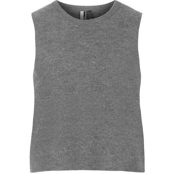 TOPSHOP Premium Boiled Wool Tank Top found on Polyvore featuring tops, shirts, tank tops, t-shirts, grey, grey tank, topshop tops, gray shirt, shirts & tops and grey top