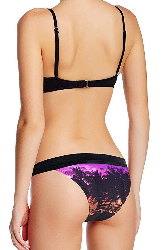 f56301cf8f8 Amazon.com: Roxy 2 Piece Bikini Set - Midnight Swim Underwire Top & Cheeky  Banded 70s Brief, Black/Purple (Black, S top + S Bottom): Clothing