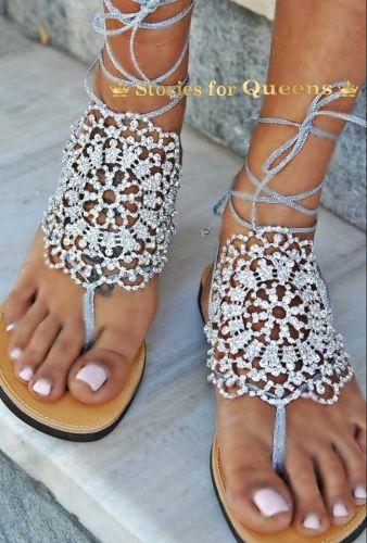 Χειροποίητα σανδάλια από γνήσιο δέρμα στολισμένα με κρυστάλλους.  http://handmadecollectionqueens.com/Νυφικα-σανδαλια-με-δερμα-και-κρυσταλλα  #handmade #fashion #bridal   #wedding   #women #sandals #summer #footwear #storiesforqueens