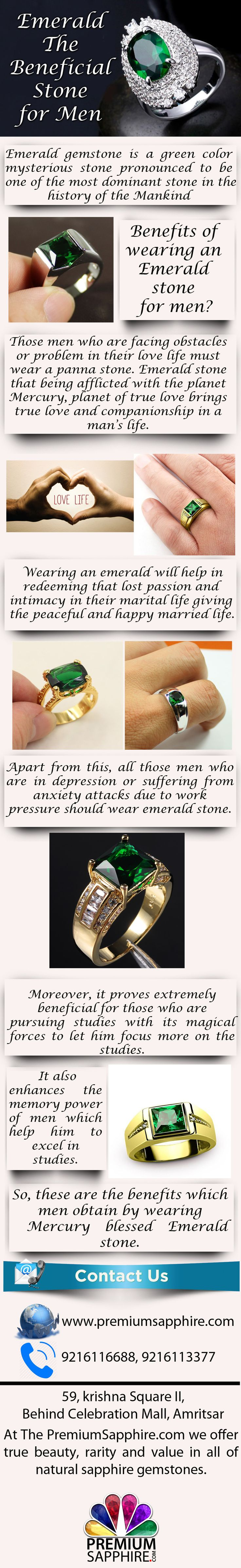 In General emerald stones have been considered the birthstone for the month of May. Emerald also known as Panna having a great value acts a very beneficial stone for men. Have a look at this Infographic presenting the benefits of wearing emerald stone for Men.