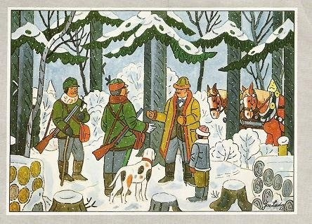 JOSEF LADA (1887 – 1957) Hunters, Lovci
