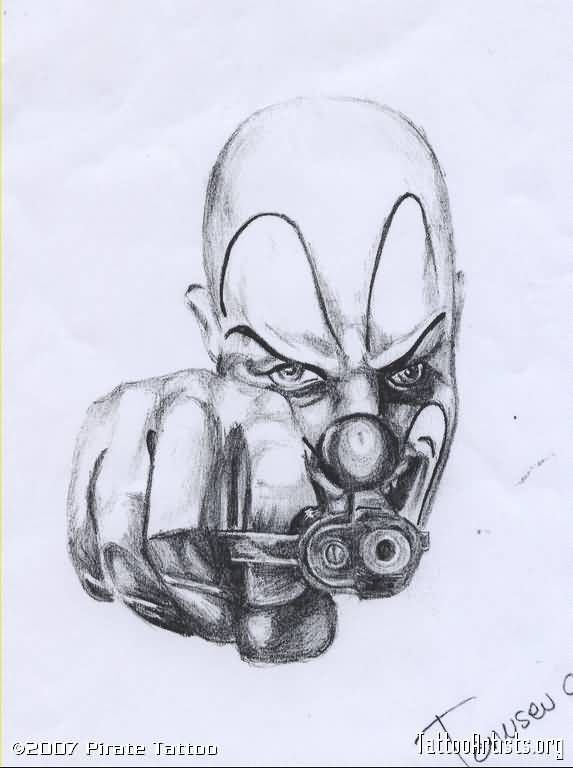 Gangster Tattoo – Fantastic Clown Tattoo Drawing