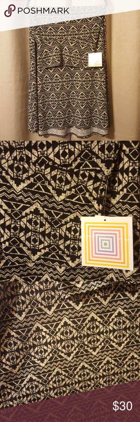 Brand new LulaRoe Maxi skirt Black and off-white aztec design. Slinky material. LuLaRoe Skirts Maxi