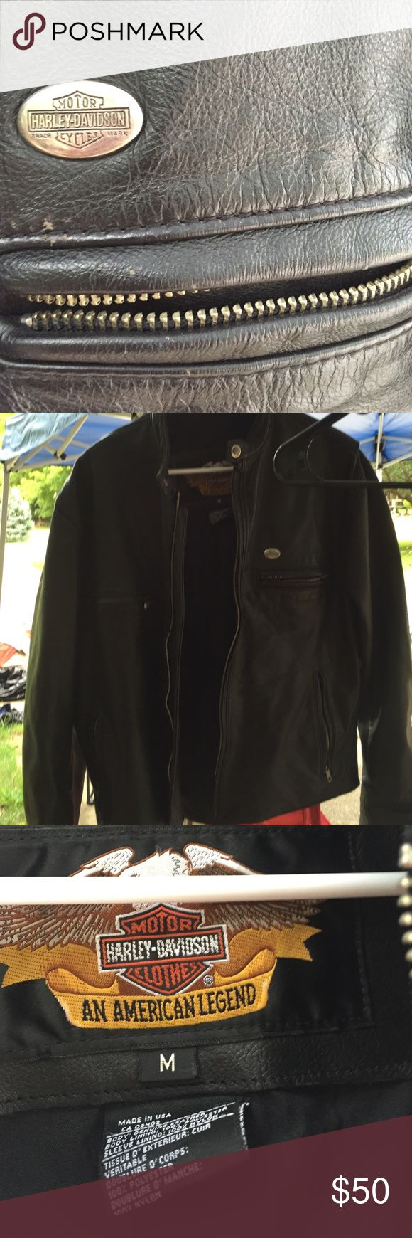 Harley Davidson womens leather coat Harley Davidson women's leather jacket. Small spot on left side,as shown in picture. Not really noticeable though Harley-Davidson Jackets & Coats