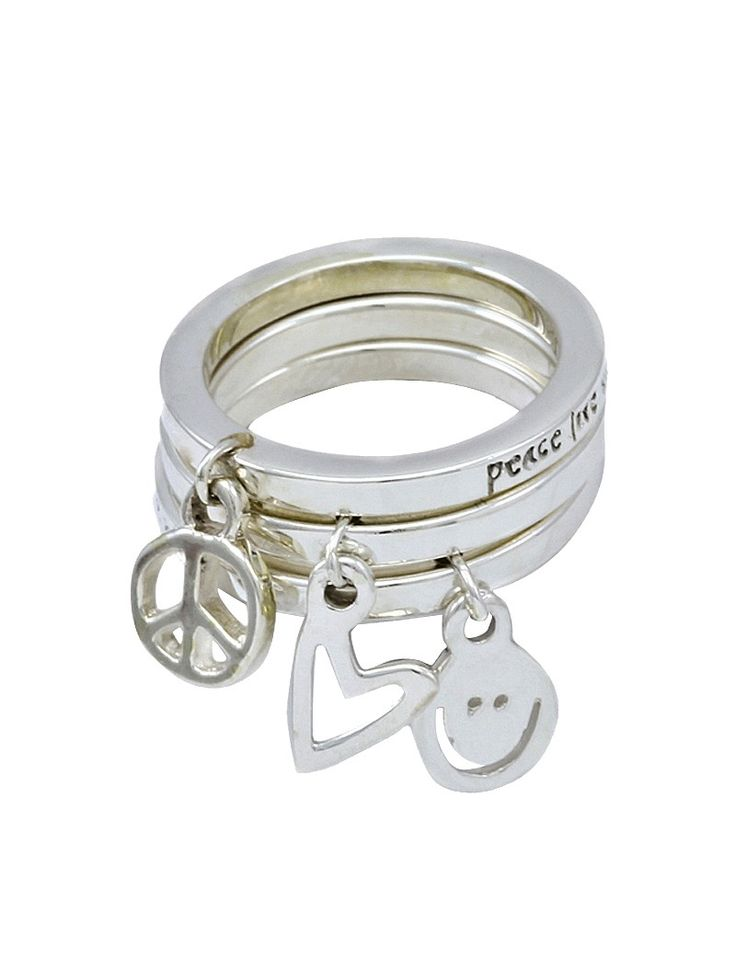 Peace Love Happiness Charm Ring Square Edge