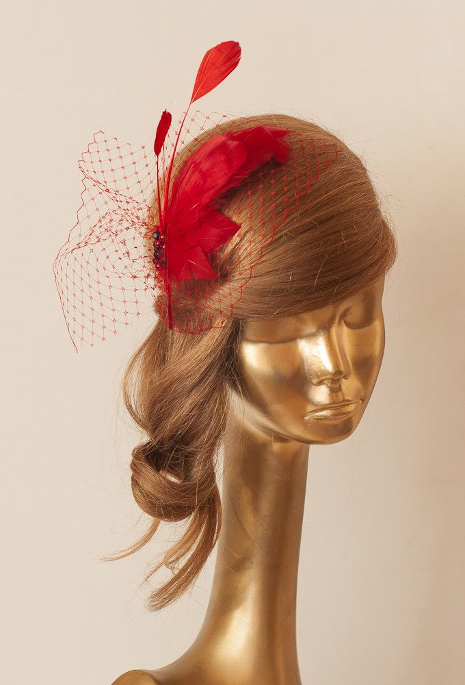 Red Birdcage Veil FASCINATOR with Feathers. Cocktail Fascinator by ancoraboutique on Etsy https://www.etsy.com/au/listing/160790263/red-birdcage-veil-fascinator-with