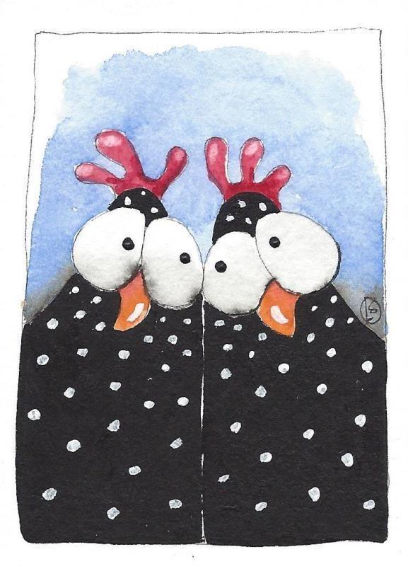 ACEO Original watercolor painting black chicken white spots best friends #IllustrationArt