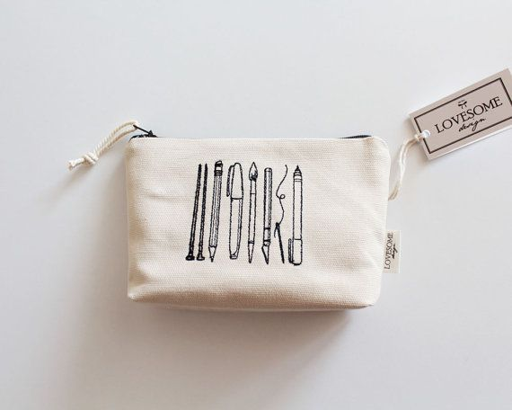 Canvas Zipper Pouch Pencil Pouch Pencil Case by LovesomeDesign