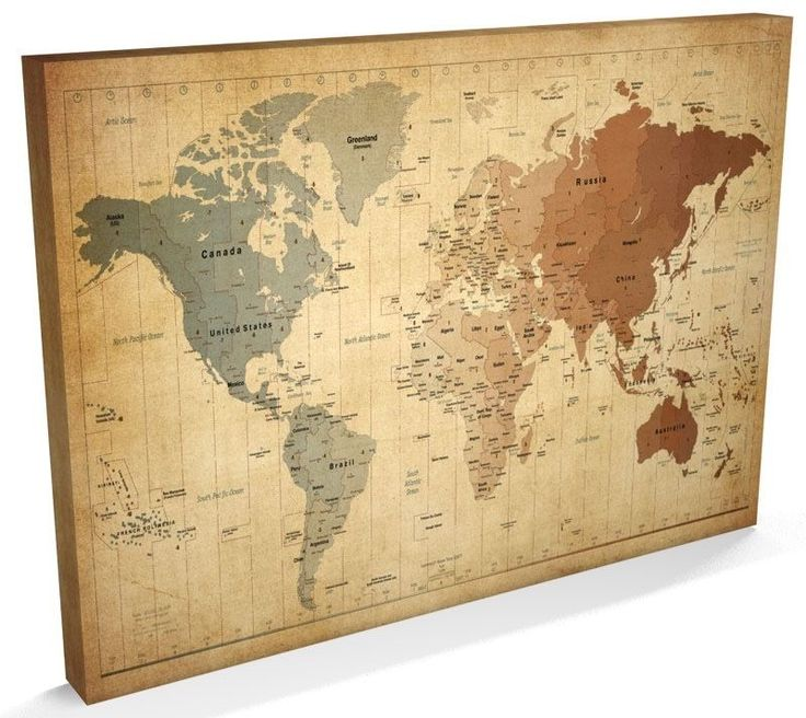 Time Zone Map of the World Map CANVAS 34x22 inch - m947 | eBay
