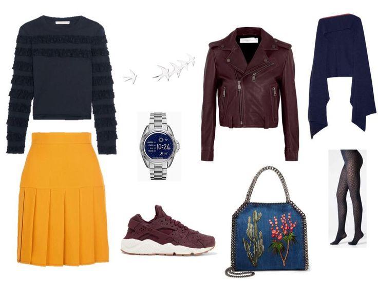 Pleated skirt, biker jacket and sneakers