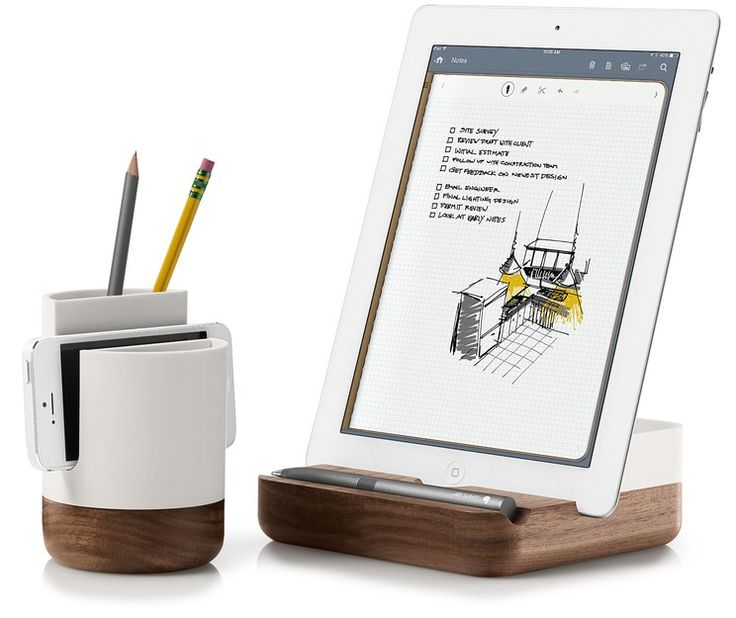 With a solid walnut base, the Pfeiffer Tablet Dish from Evernote displays your tablet and holds your stylus in style. A back tray hides charging cables.