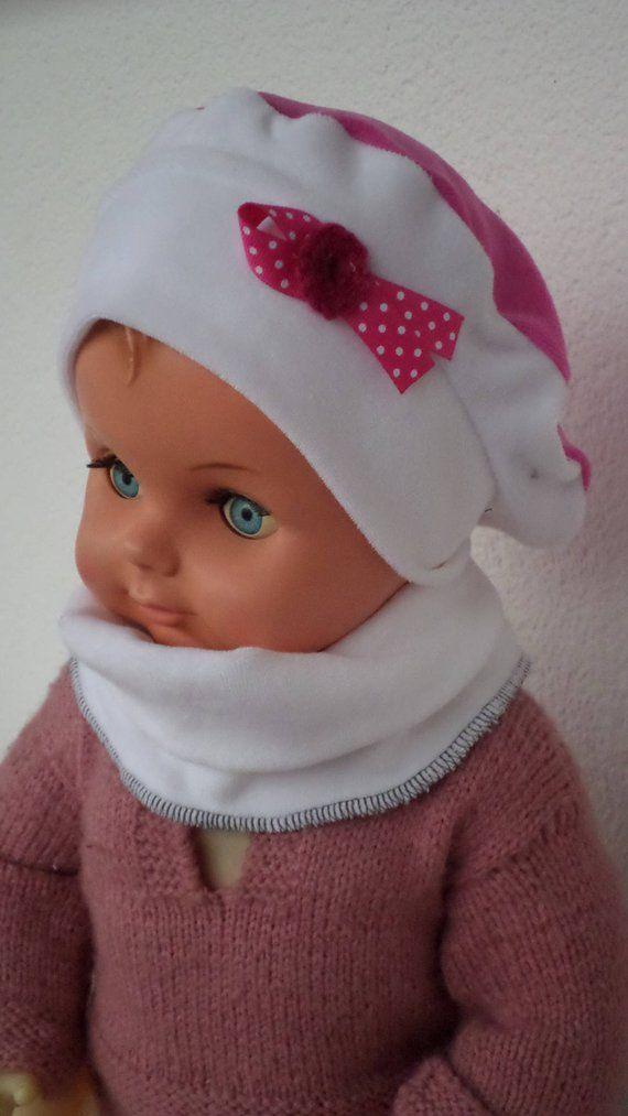 bonnet béret chapeau snood  bébé  fille  lin eva kids  velours  rose et  blanc collection automne hiver création lineva cadeau bébé fille 697c5238485